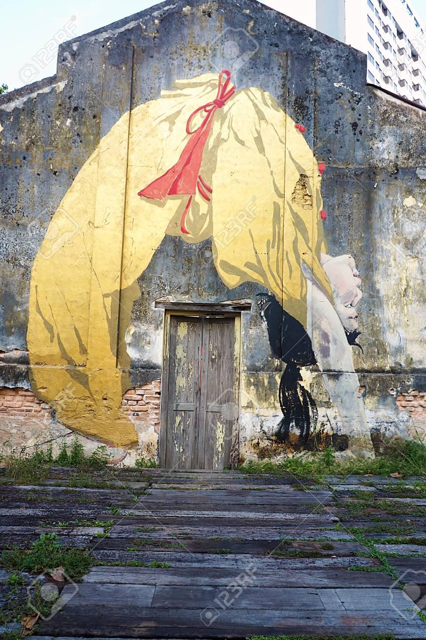 Penang, Malaysia - FEBRUARY 25 2016: Street Art On Vintage Wall ...