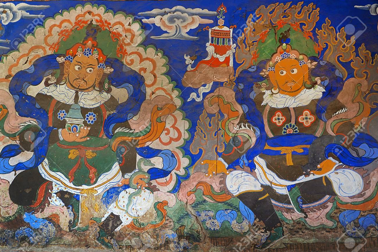Buddha Wall Art Architerct Tik Sey Monastry Leh Ladakh India