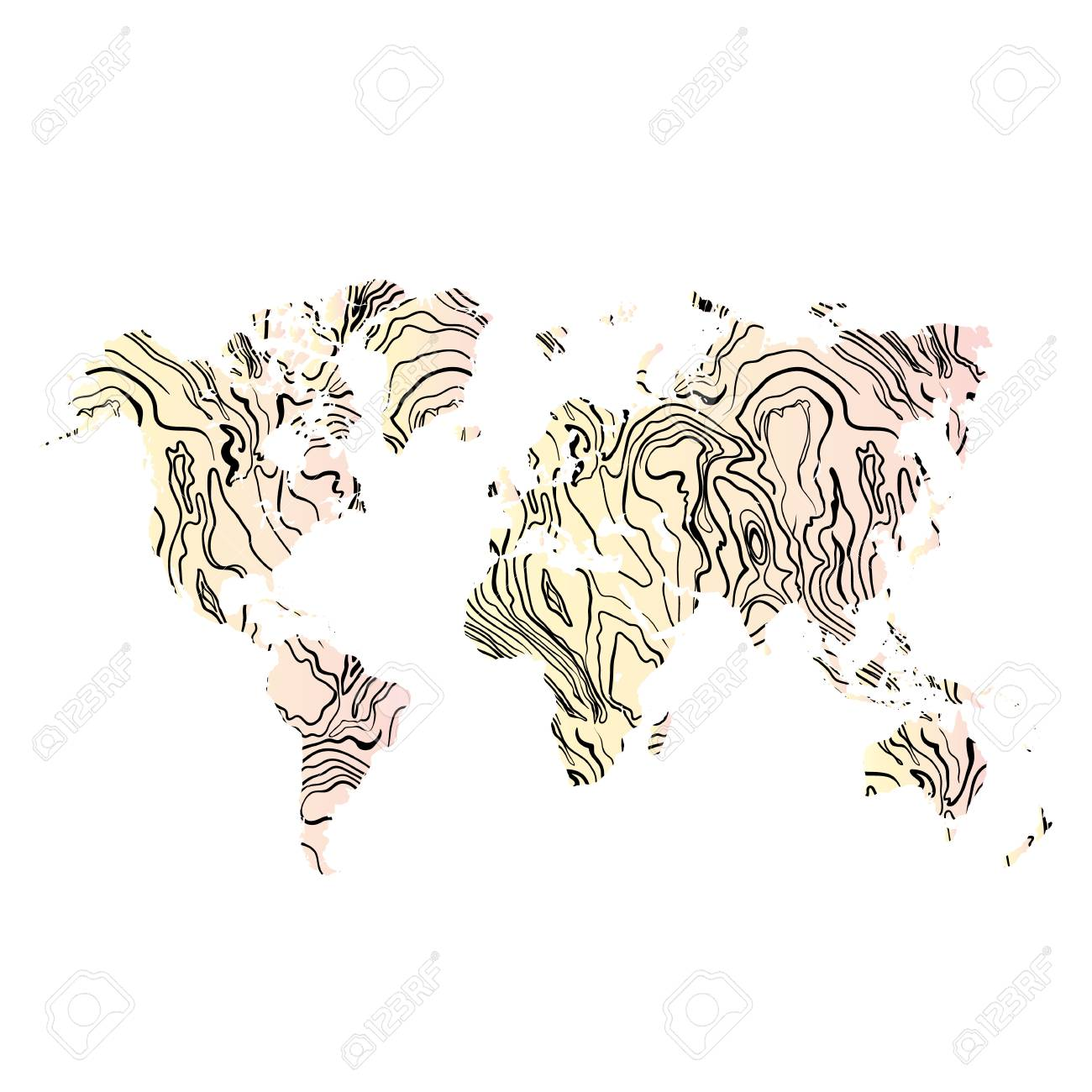 World Map Hand Drawn Textured In Wood Illustration. Royalty Free ...