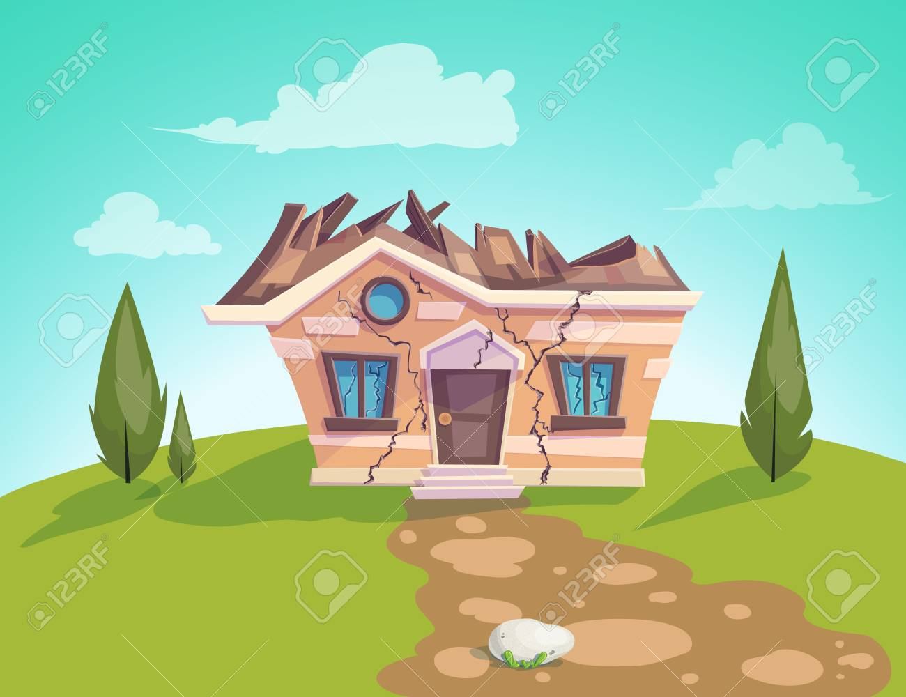 house destroyed facade Vector. Cracks in walls of home. Property insurance. Illustration of a cartoon country house in summer season - 119337477