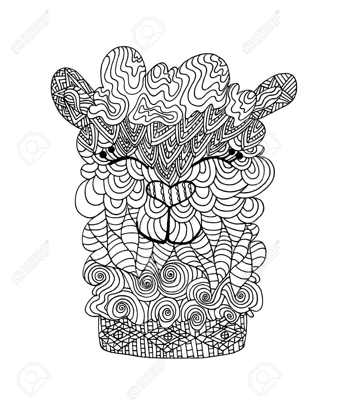 coloring book page alpaca llama portrait coloring page lama royalty free cliparts vectors and stock illustration image 140765895 coloring book page alpaca llama portrait coloring page lama