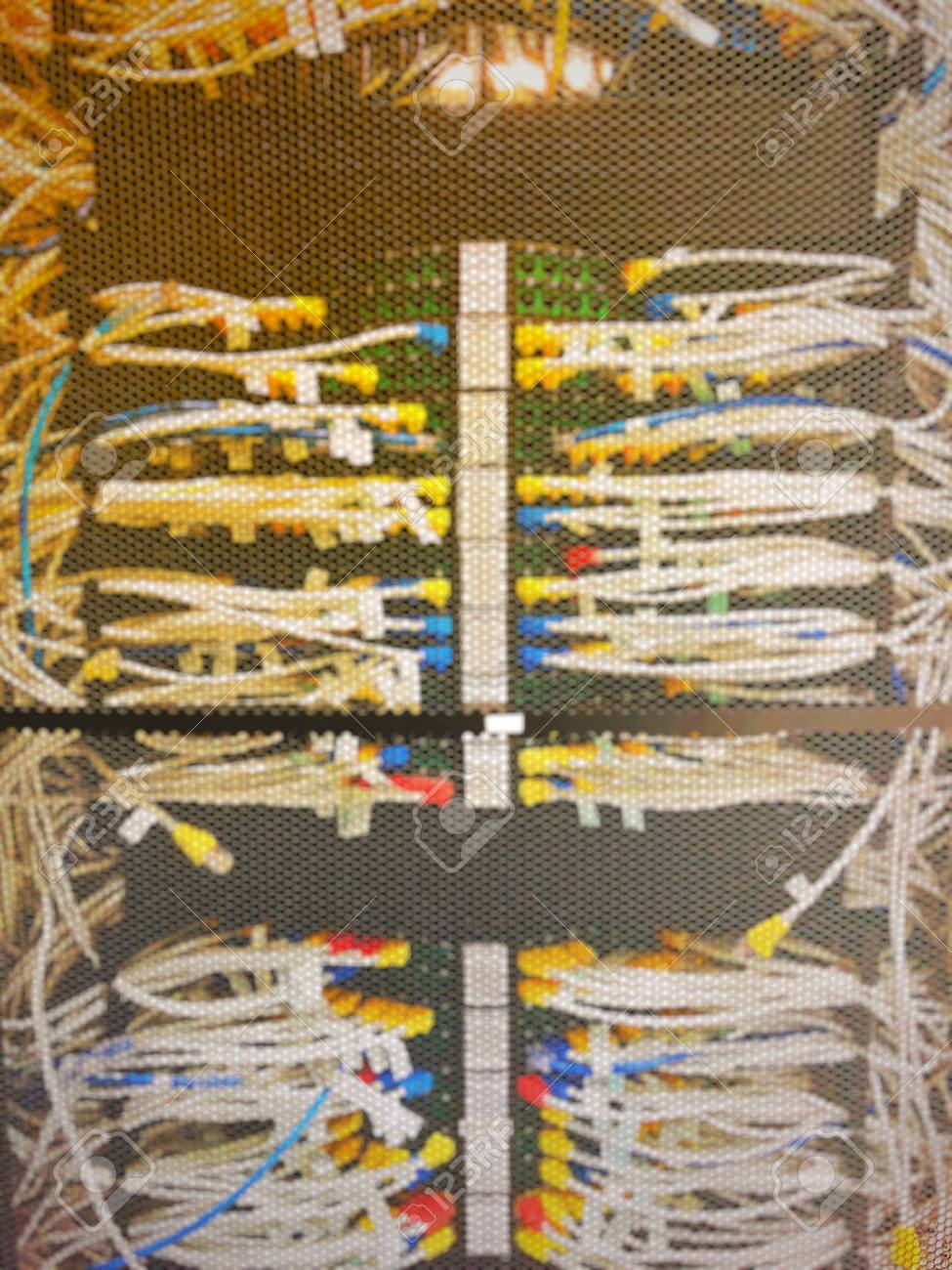 Blurred Of Complicated And Mess LAN Cable Wiring And Networking ...