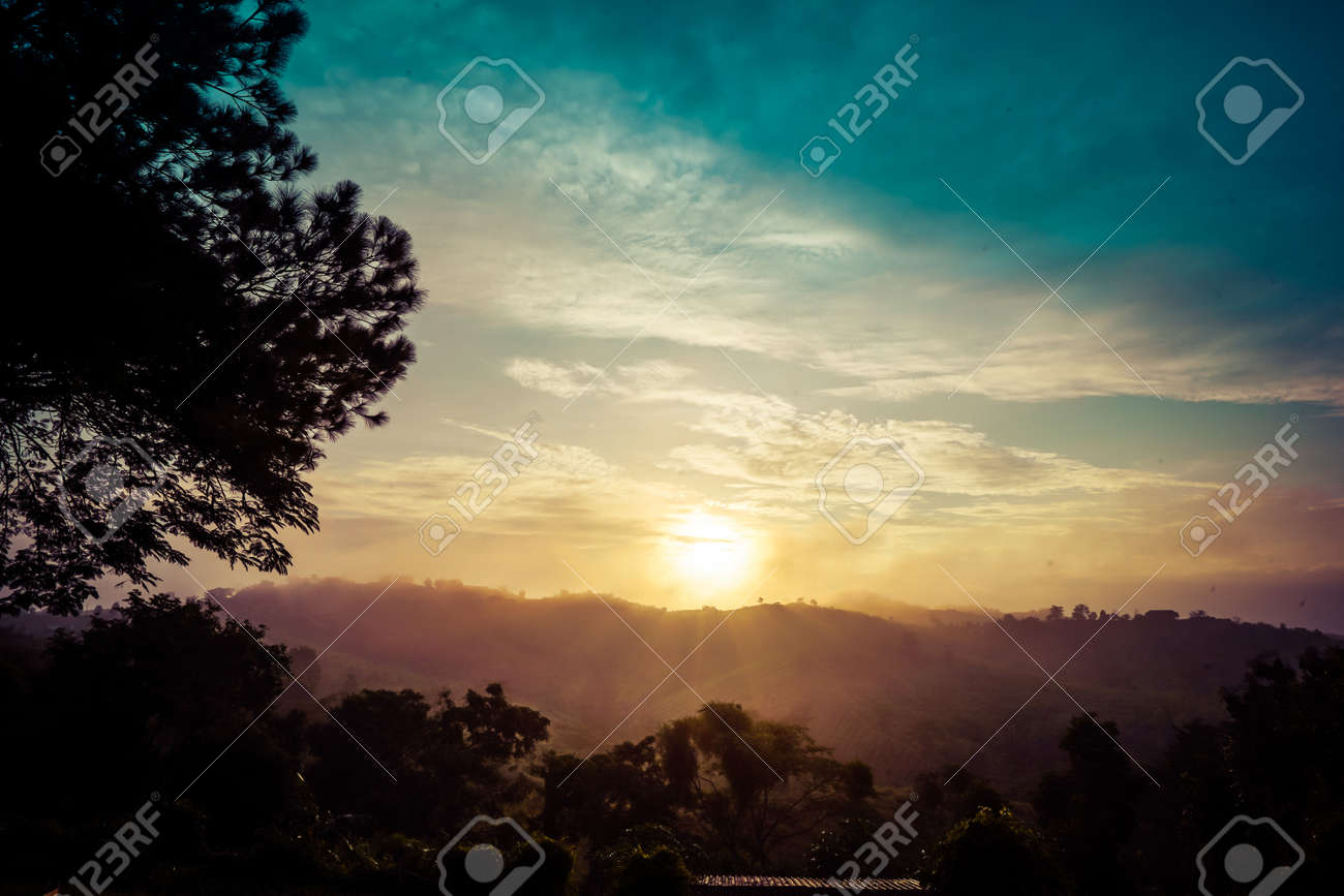 Mountain natural view in the morning time at Khao Kho, Thailand. - 159806990