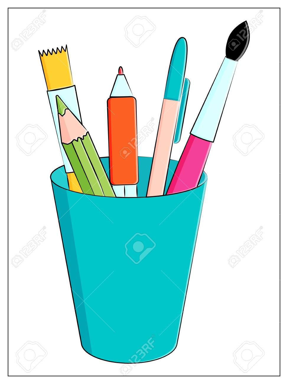 Set of multicolored school supplies. Stationery in a glass. Vector flat illustration with pencils, pen and brushes for drawing - 151558073