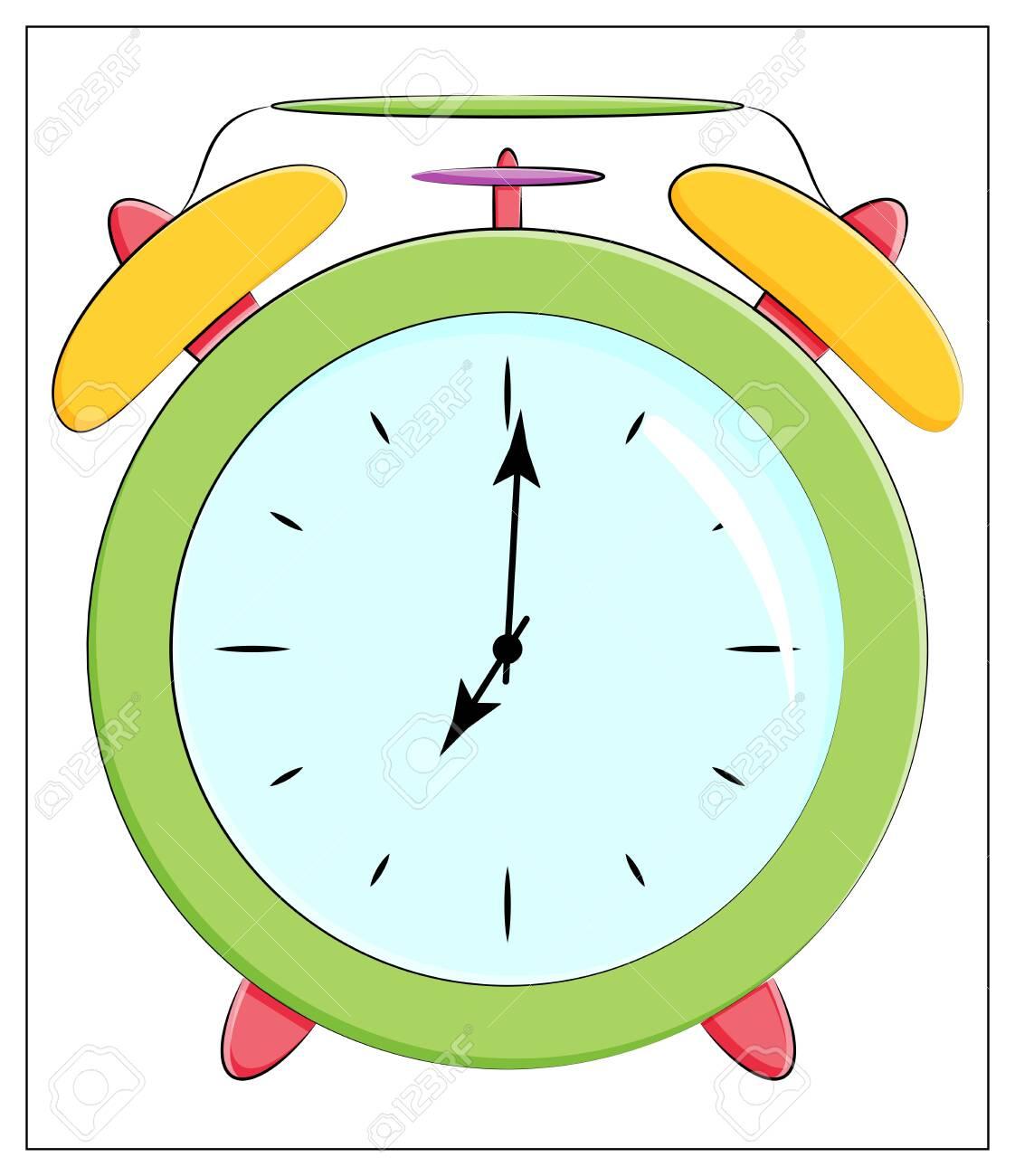 Vector Silhouette of classic clock Icon. Flat vector illustration of green Alarm clock - 151558109