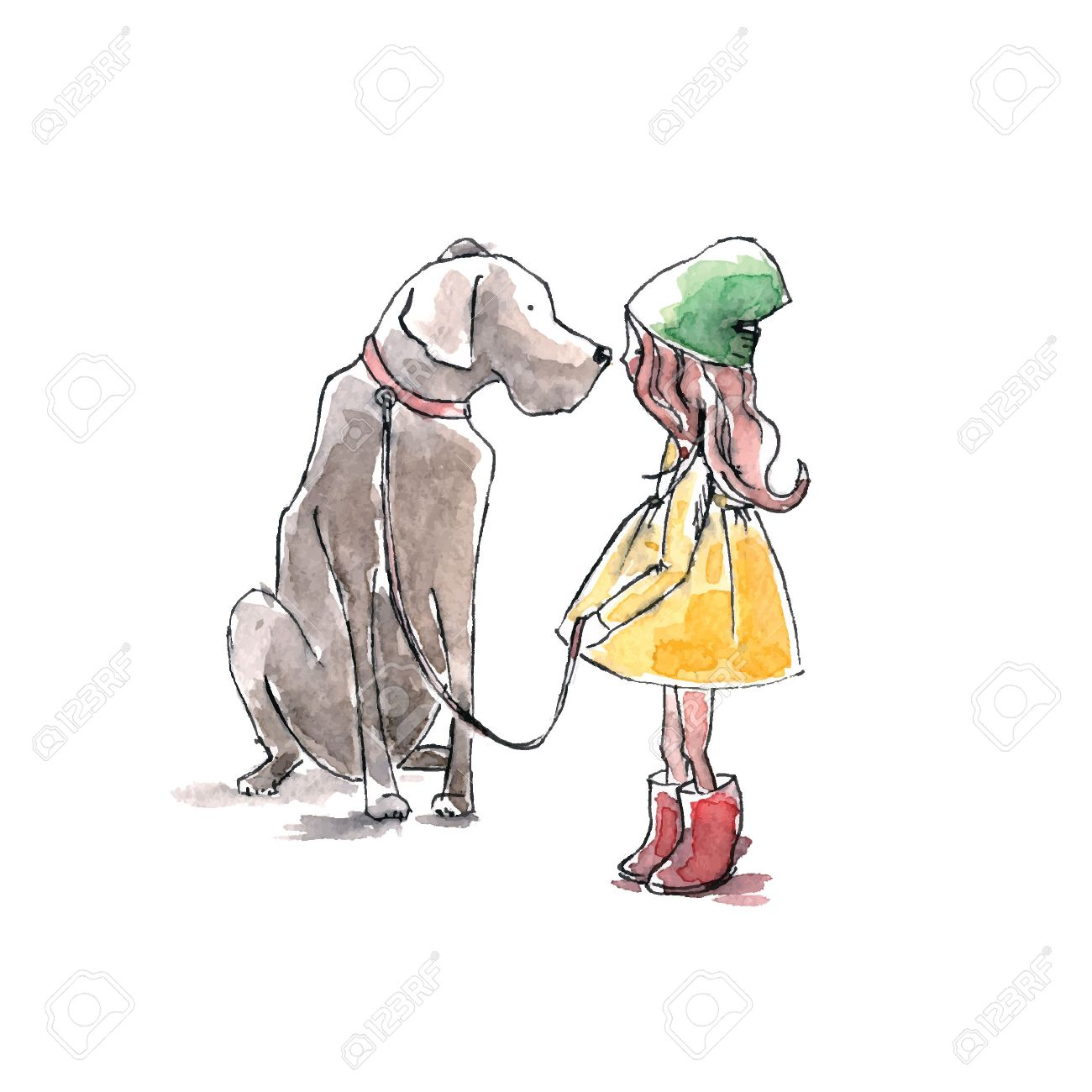Hand drawn watercolor painting of Girl with big dog, friendship. - 57421908