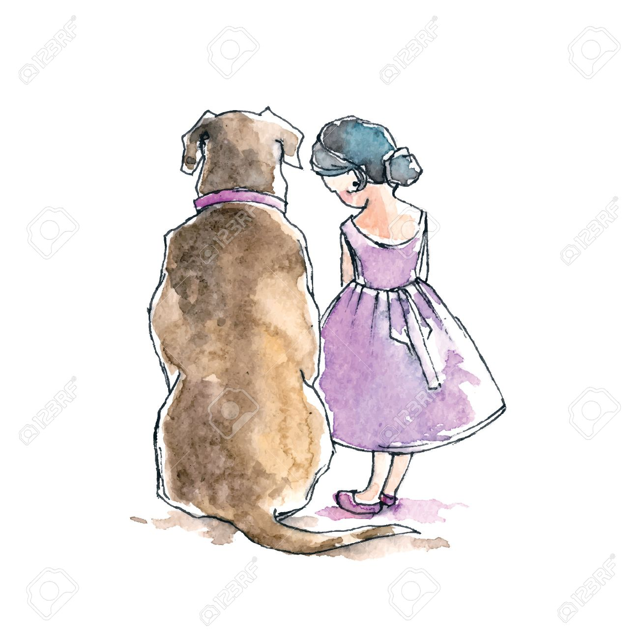 Hand Drawn Watercolor Painting Of Girl With Big Dog Friendship