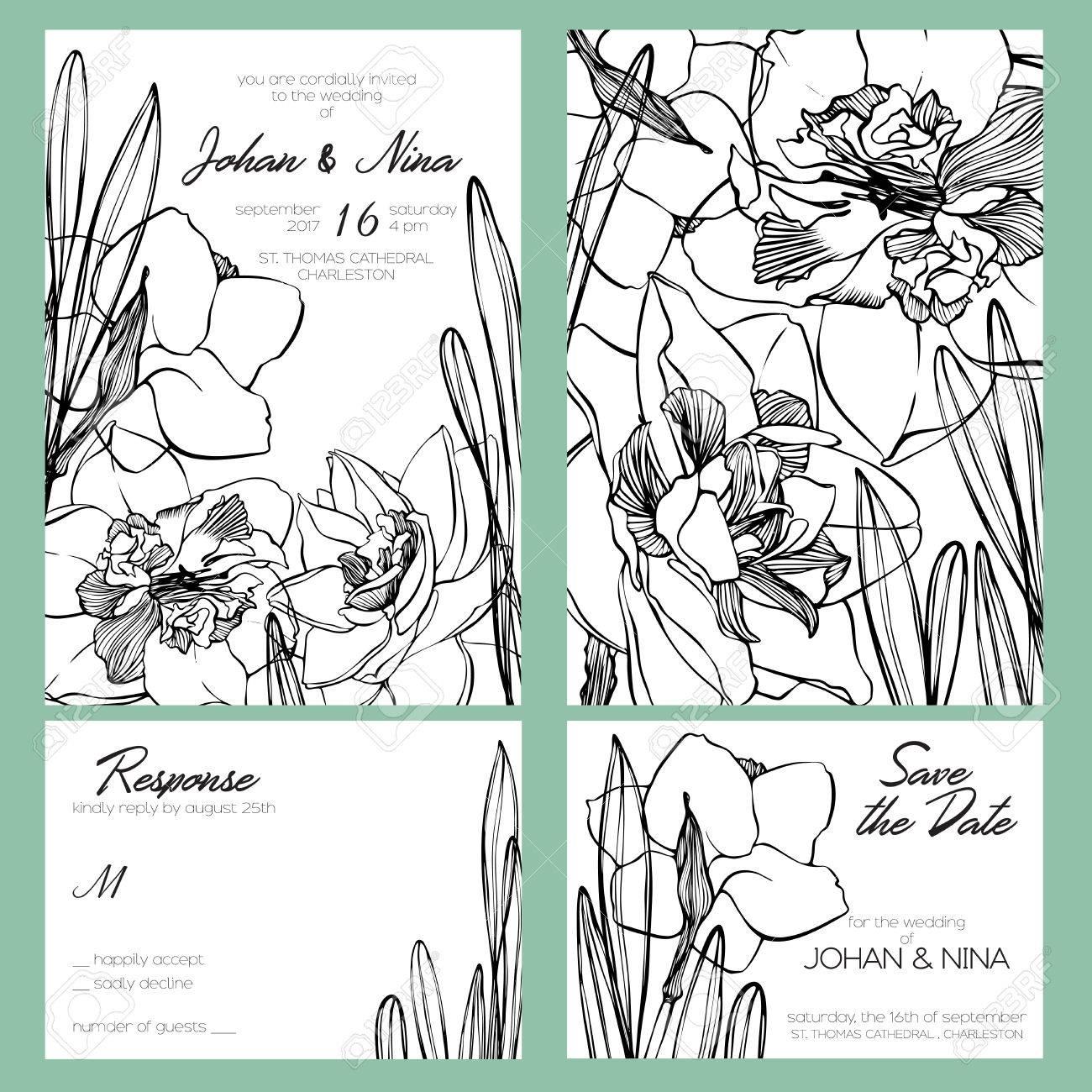 Hochzeit Einladungskarte Suite Mit Romantischen Schwarz Weiss
