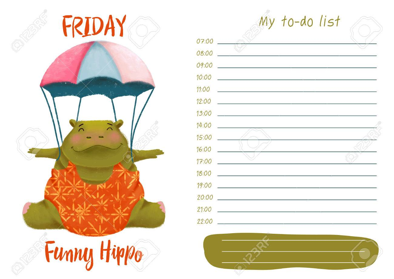 daily planner with illustration of cute cartoon funny hippo