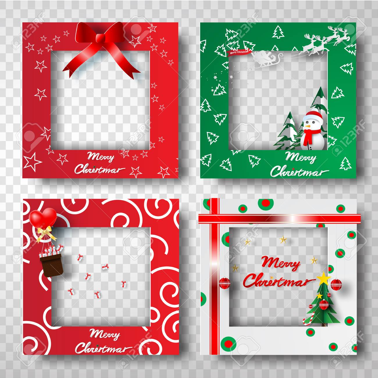 Paper Art And Craft Of Christmas Border Frame Photo Design Set
