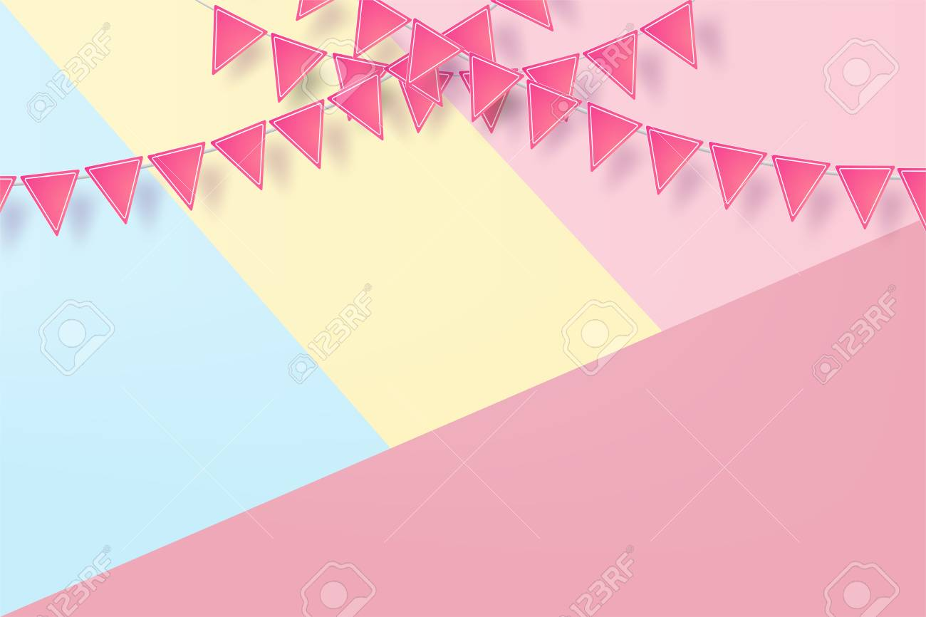 anniversary happy birthday sweet colorfu with pink pennant banner