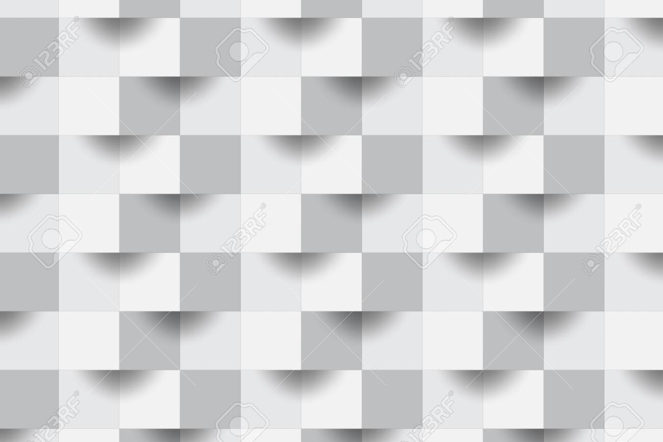 3d Abstract Zoom Focus White Geometric Shape From Gray Cubes Brick Wall Squares Texture Panoramic Solid Surface Background Creative Design Seamless Minimal Modern Pattern Wallpaper Illustration Lizenzfreie Fotos Bilder Und Stock Fotografie Image
