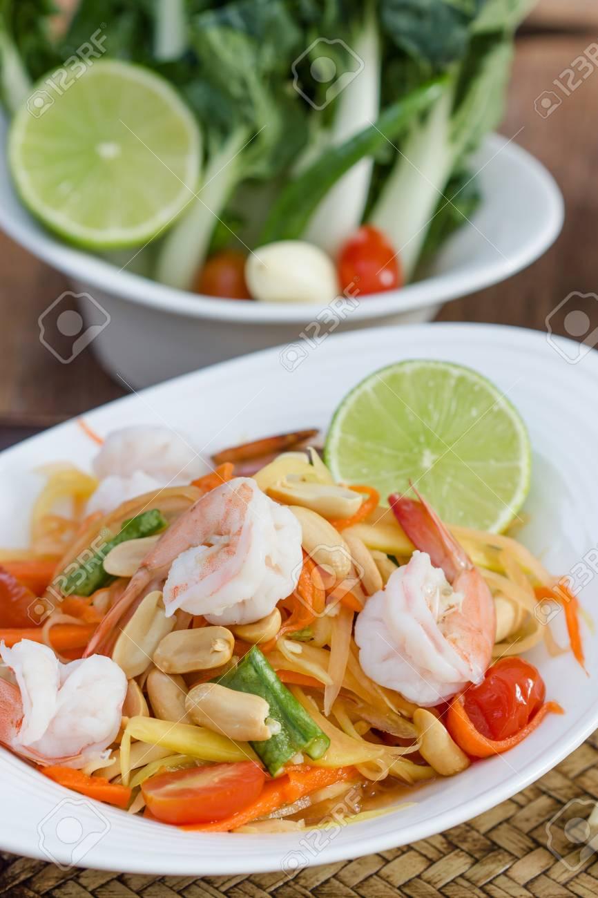 green papaya salad thai food, Thai cuisine  traditional and modern thai food Stock Photo - 25717663