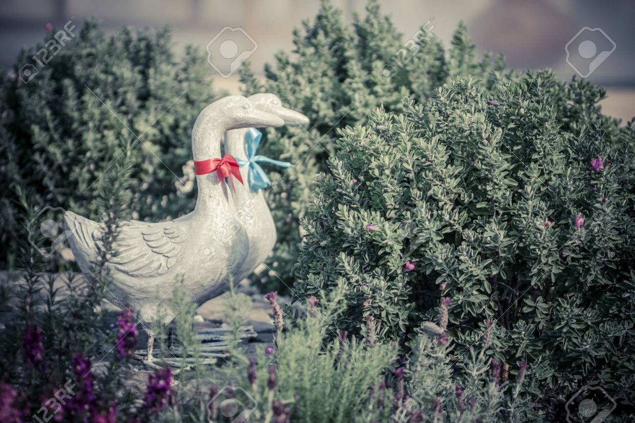 Duck Statues In English Garden. Vintage Style Stock Photo   37708960