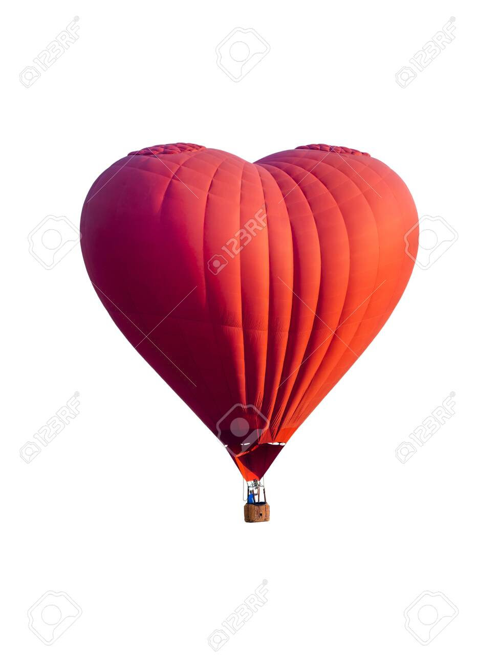 Red hot air balloon in the shape of a heart isolated on white background - 125580596