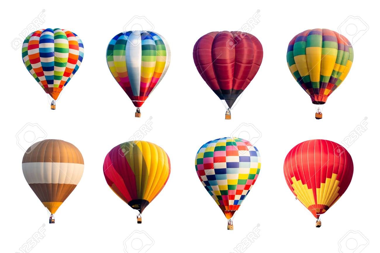 Set of colorful hot air balloons isolated on white background. - 131605002