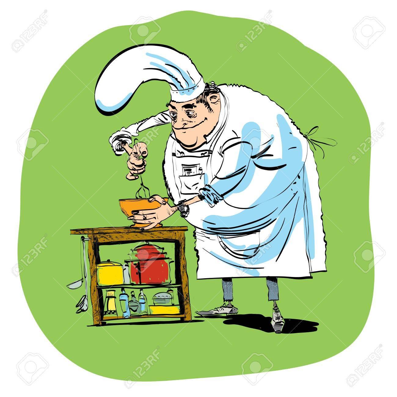 Koch Bereitet Essen Schneebesen Oder Eine Kunst Comic Cocktail Linie