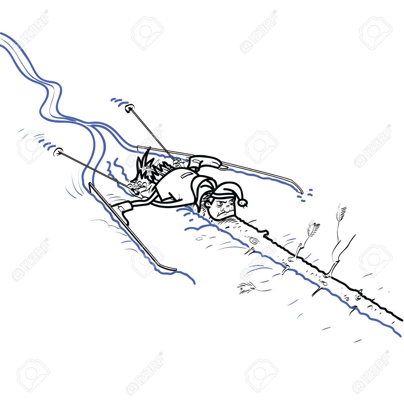 Un Esquiador Chocó Contra Un árbol Deportes De Invierno Descenso De Esquí Dibujo En Blanco Y Negro Para Colorear
