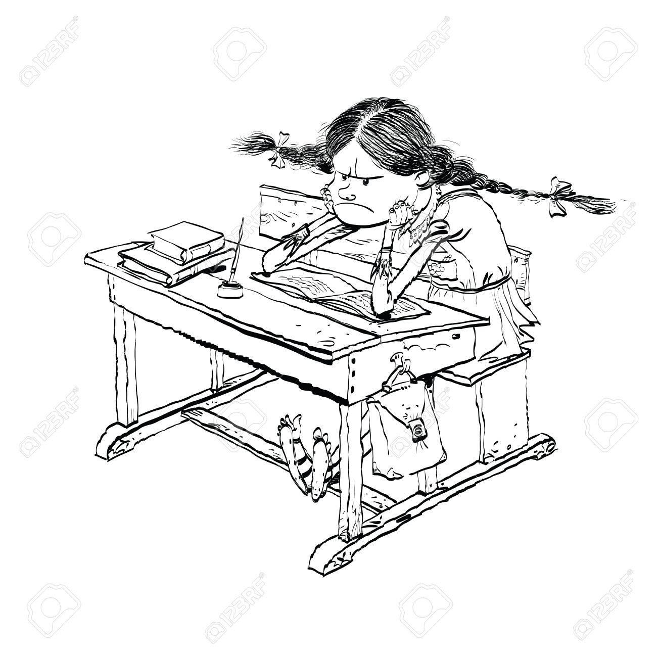 Schule clipart schwarz weiß  Verärgerte Mädchen In Der Schule Linie Kunst. Schülerin Auf Den ...
