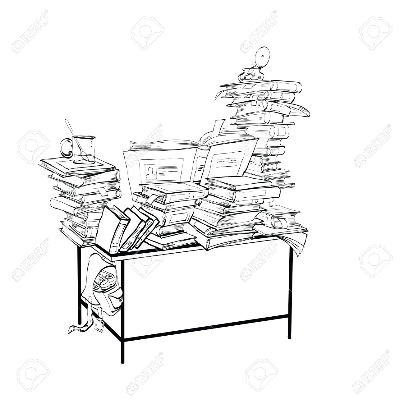 Escritorio De La Escuela Con Los Libros La Literatura Y El Arte De Línea De La Biblioteca La Lectura Y La Educación Ejemplo Blanco Y Negro Para