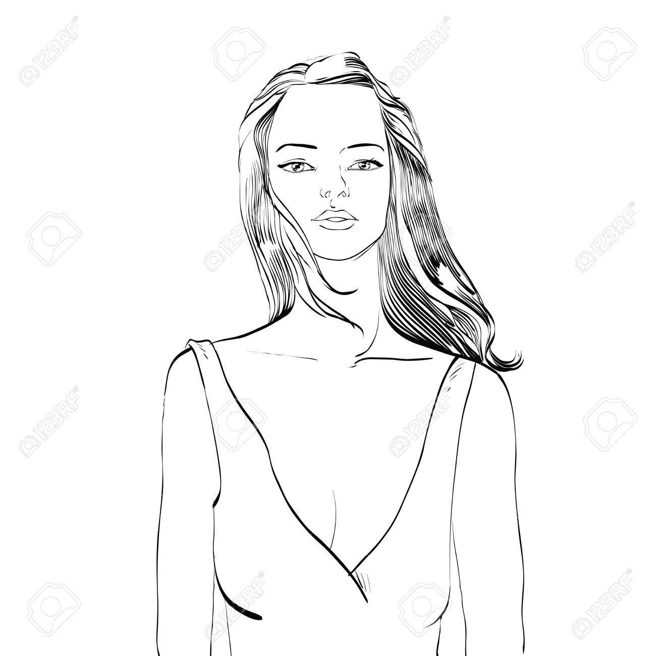 Jeune Femme En Maillot De Bain Mains De Dessin Noir Et Blanc Dessiné Illustration Vectorielle
