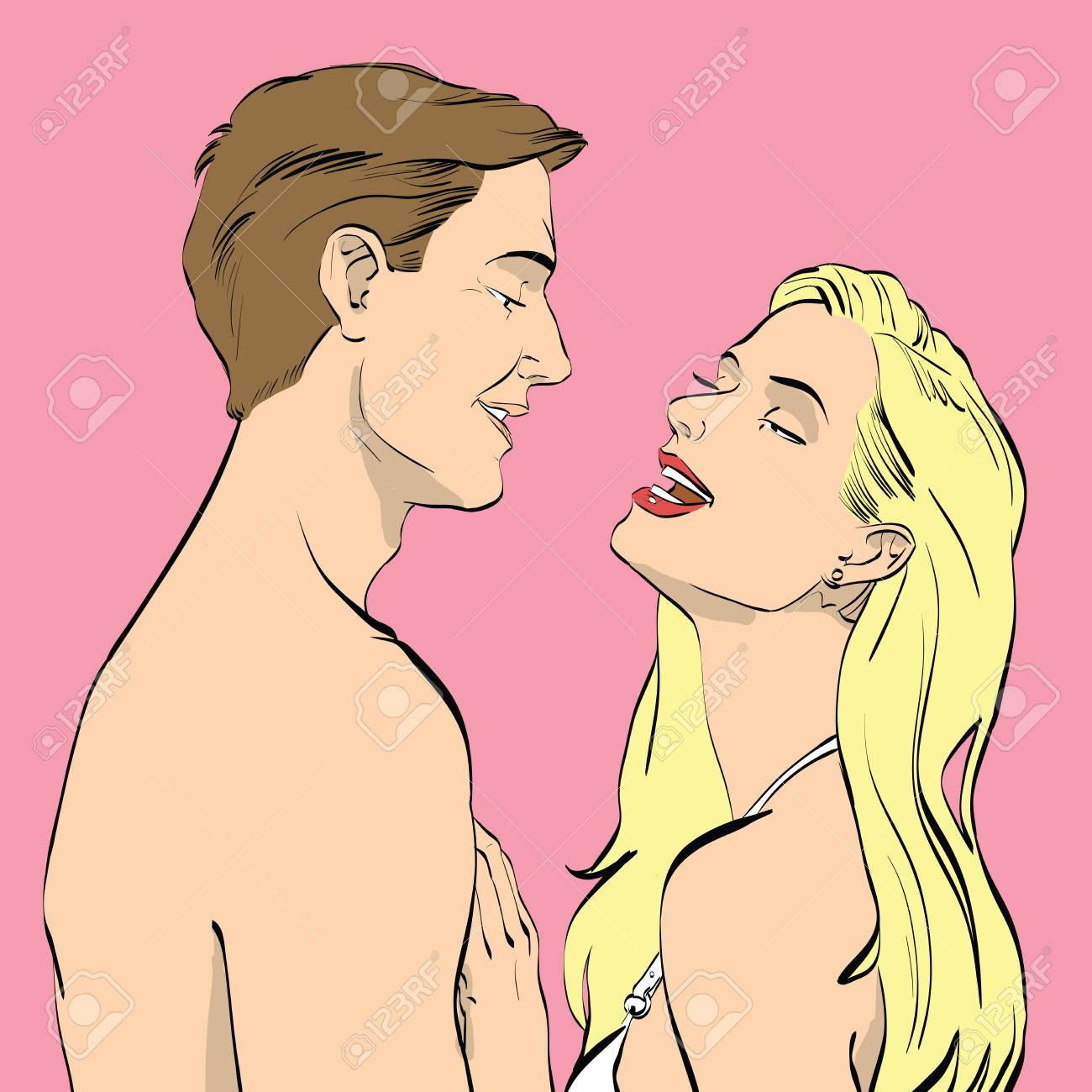 Illustration - Man and woman couple in love sex. Hand drawing color  illustration
