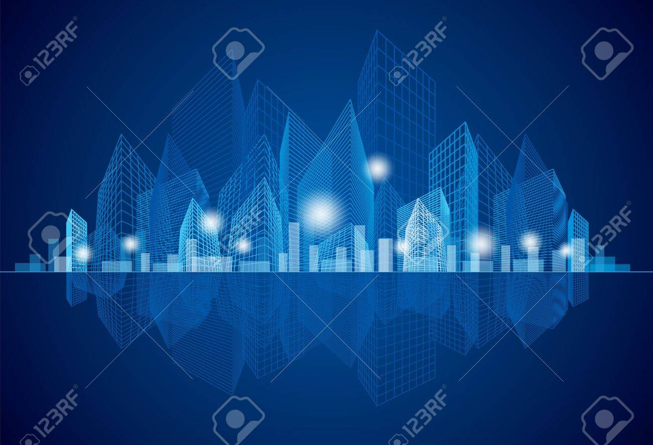 City Landscape at night Stock Vector - 15583031