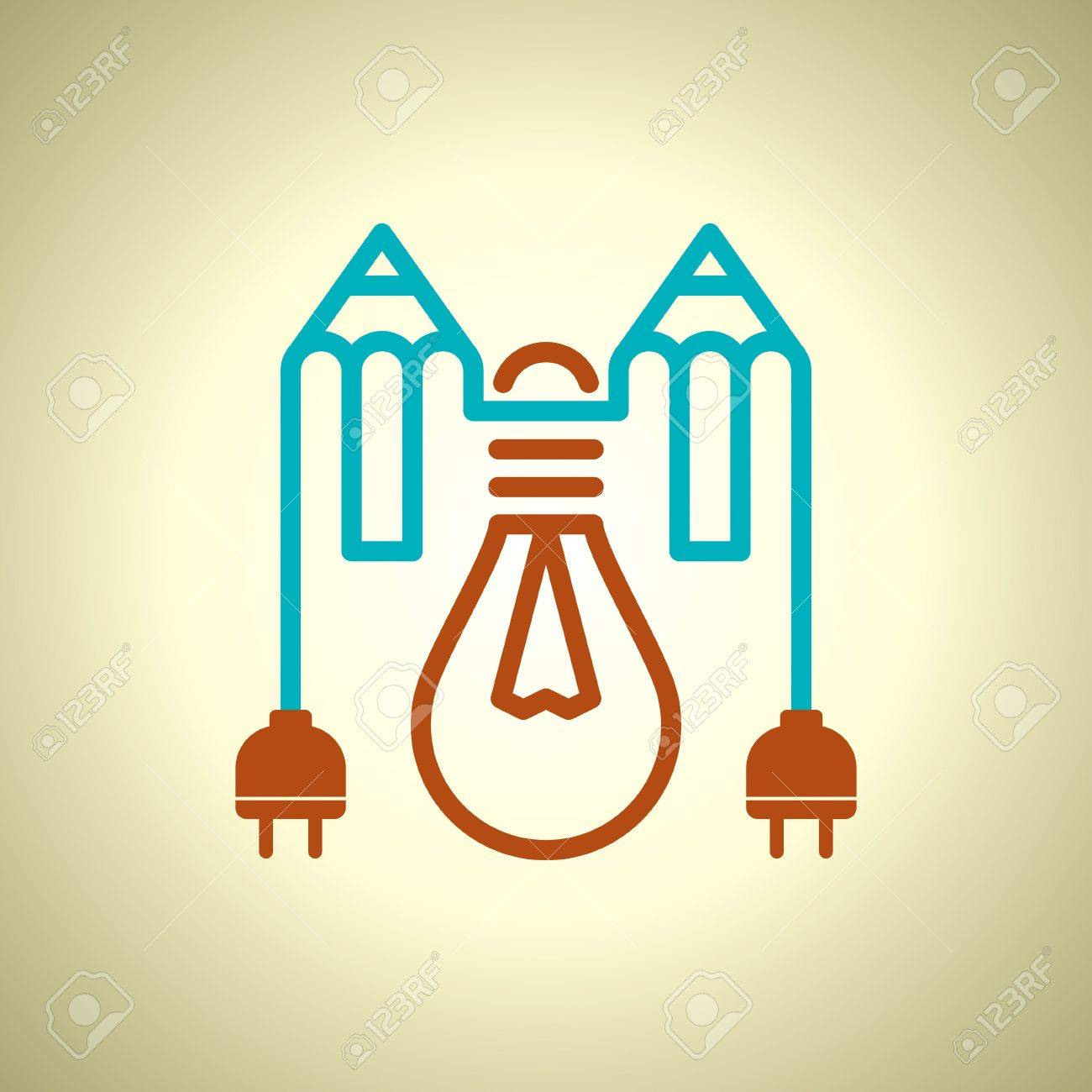 Bulb With Electric Plug And Pencil Royalty Free Cliparts Vectors 15661448