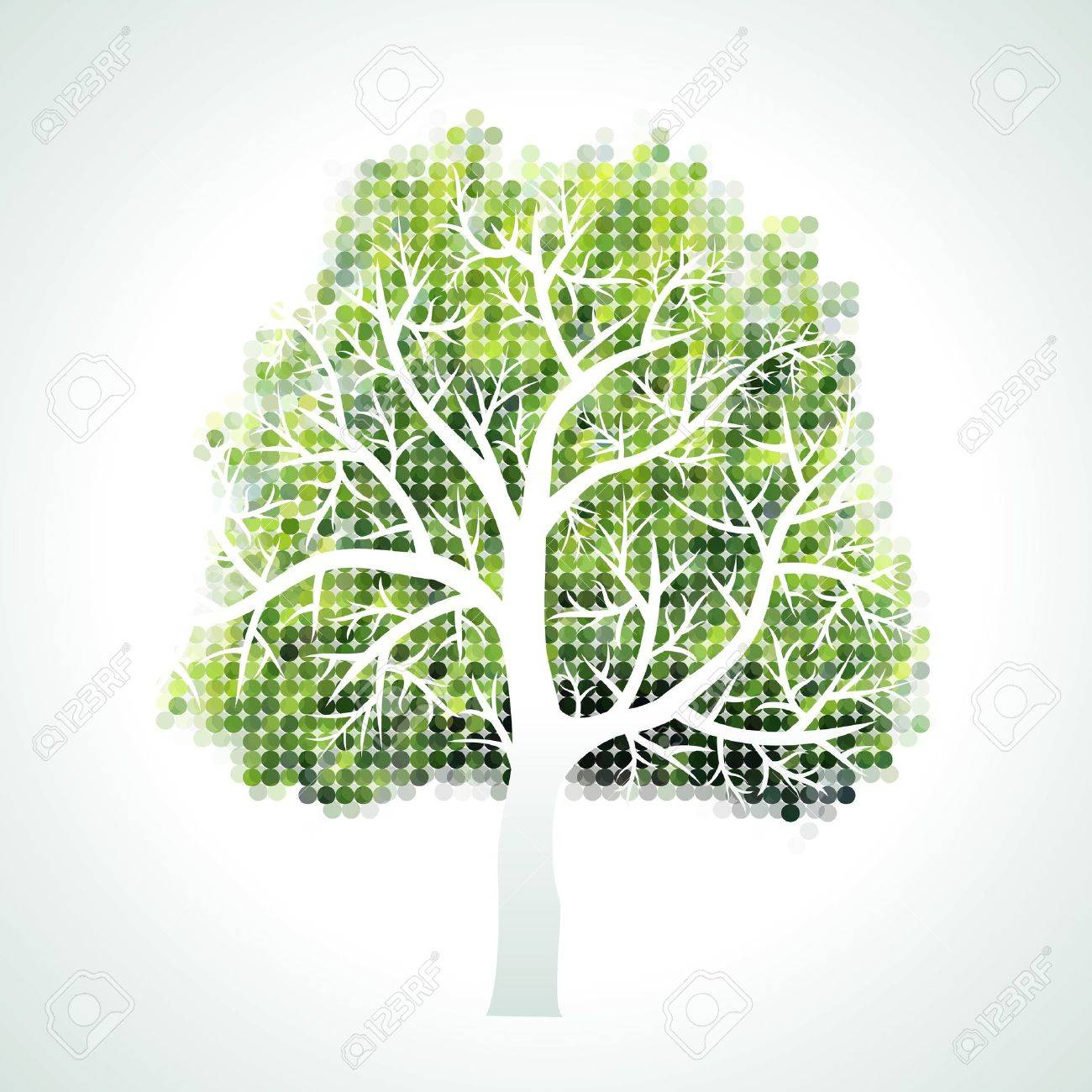 halftone tree with branches and leaves Stock Vector - 15623035