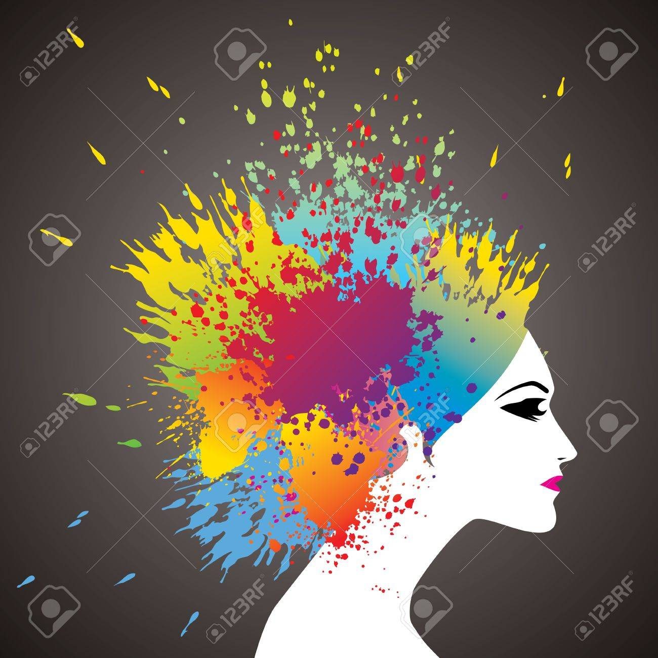 Beautiful Girl With Colorful Hair Splashes Royalty Free Cliparts