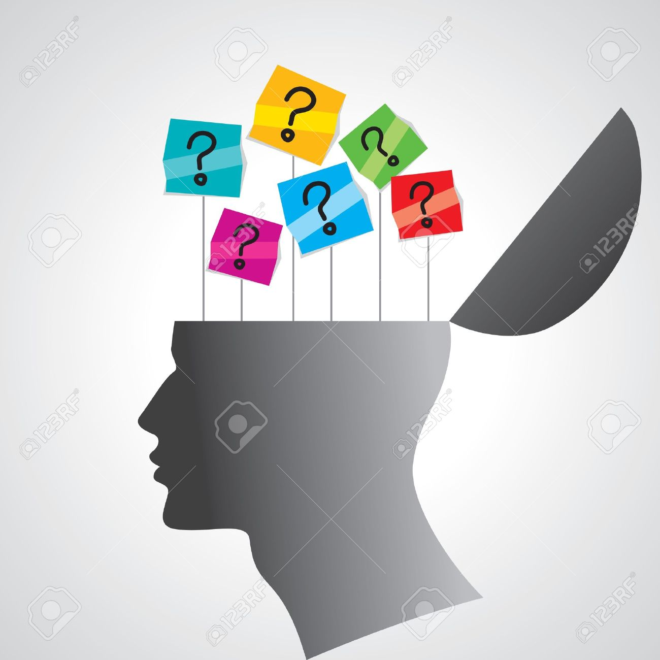 human head with question mark Stock Vector - 16096667
