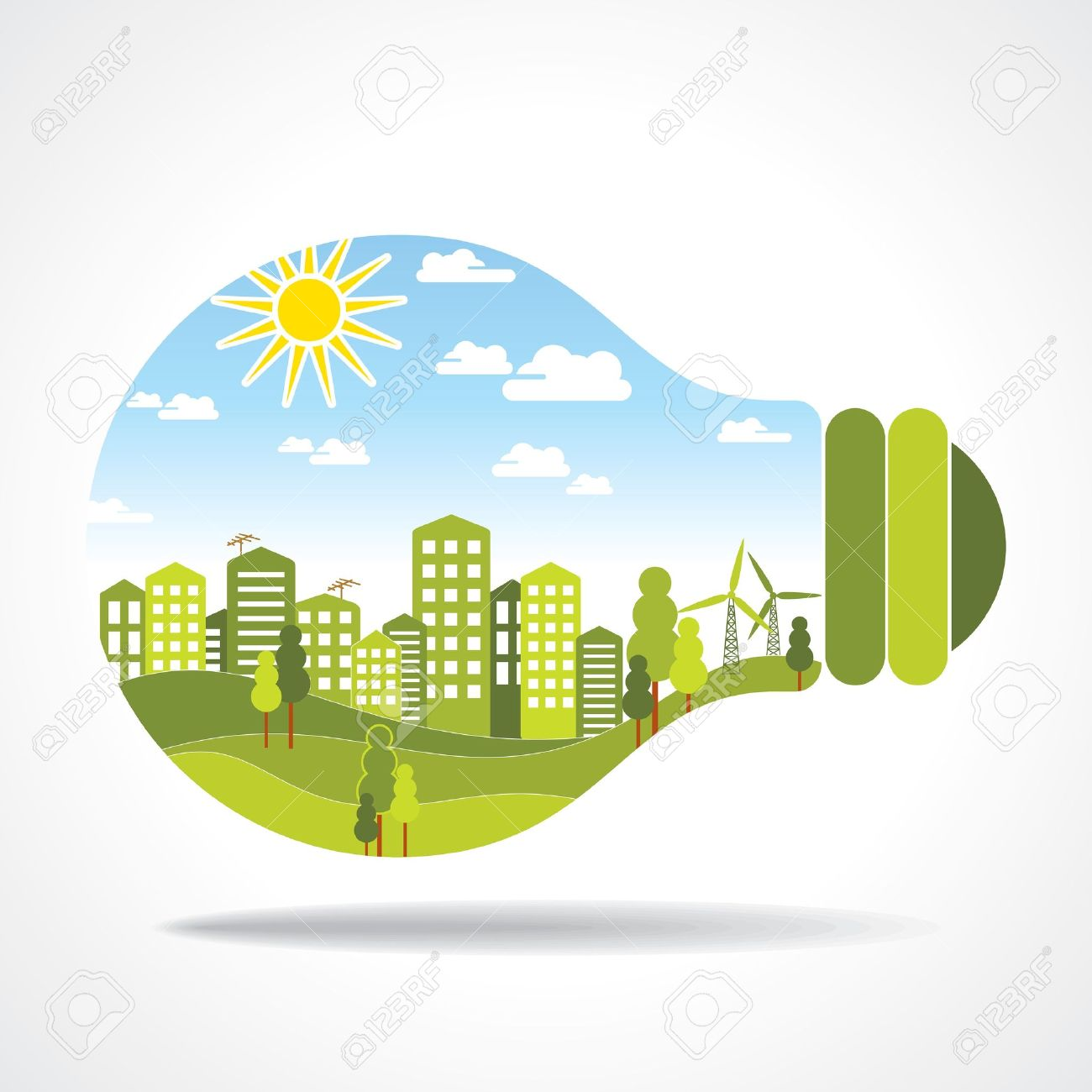 city inside of light bulb Stock Vector - 15947307