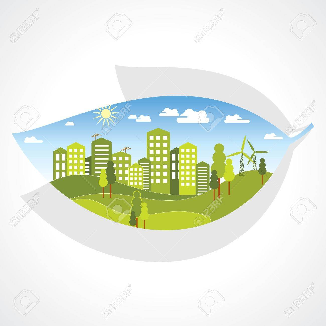 green city inside the leaf Stock Vector - 15947303