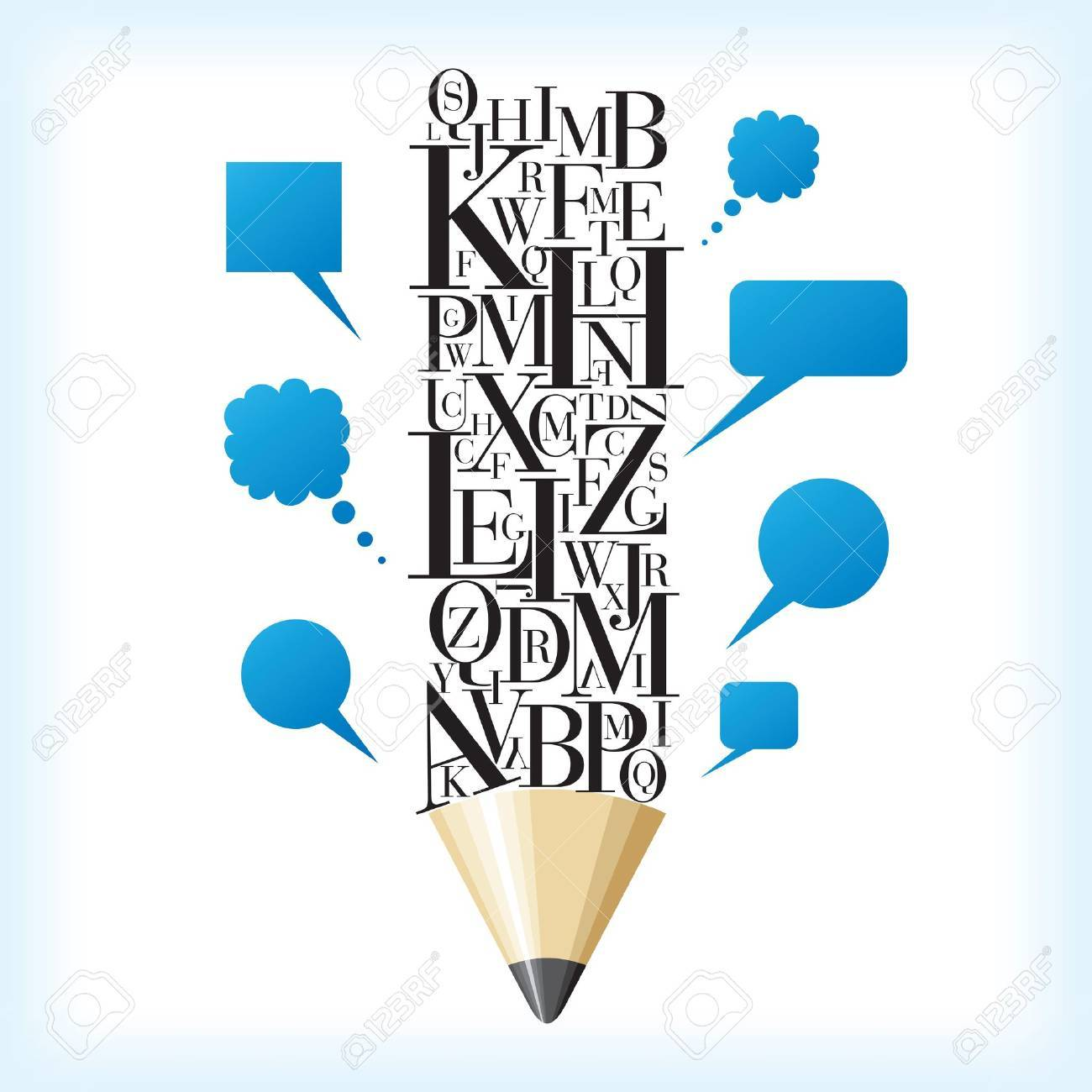 alphabetic pencil with speech bubble Stock Vector - 17752096