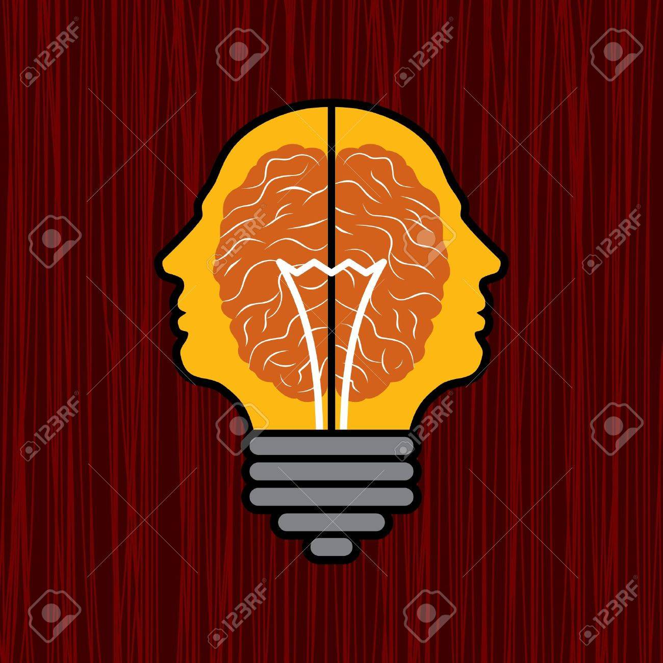 concept of brain with bulb as a solution to problem Stock Vector - 17730460