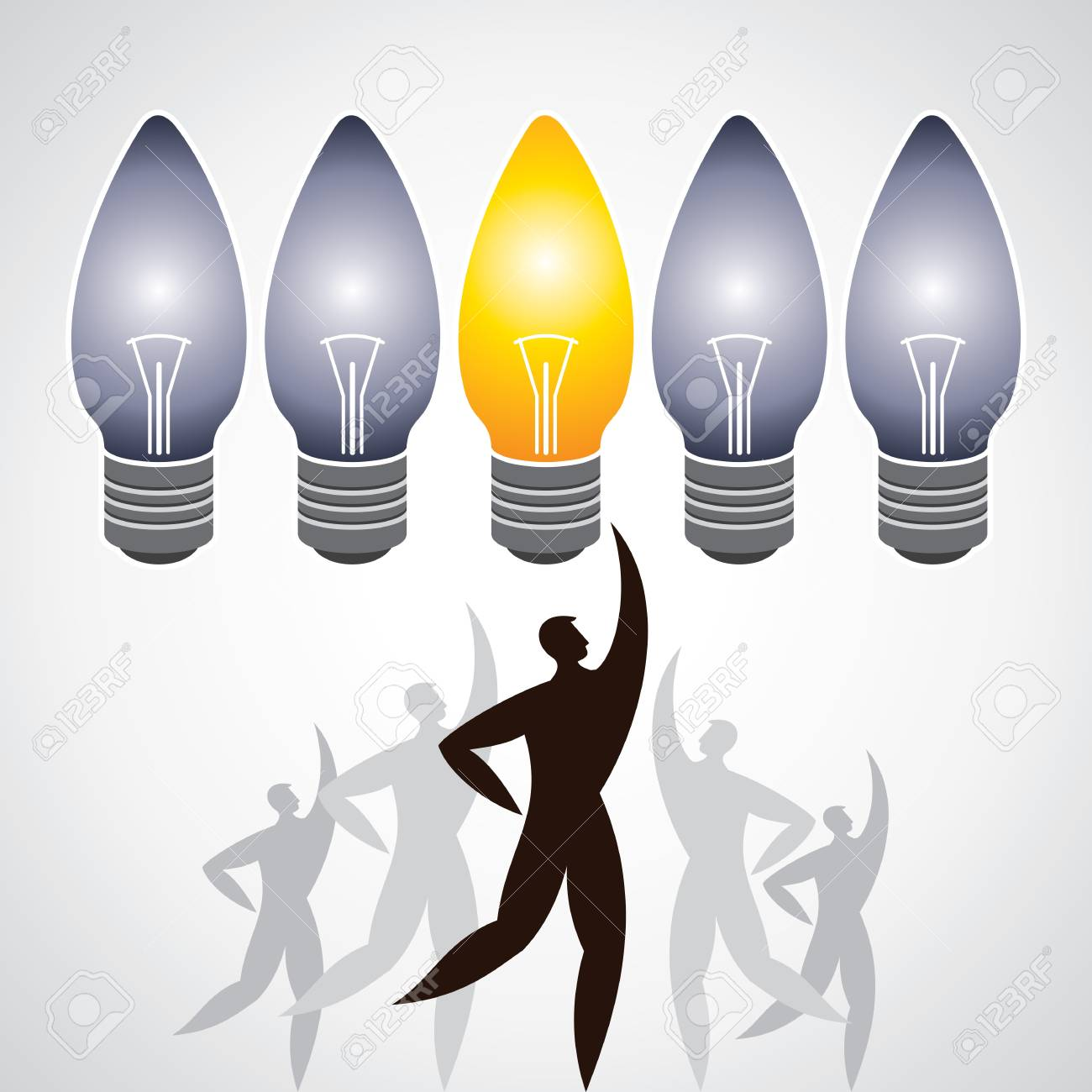 Illustration of man surround with idea bulbs Stock Vector - 17725787