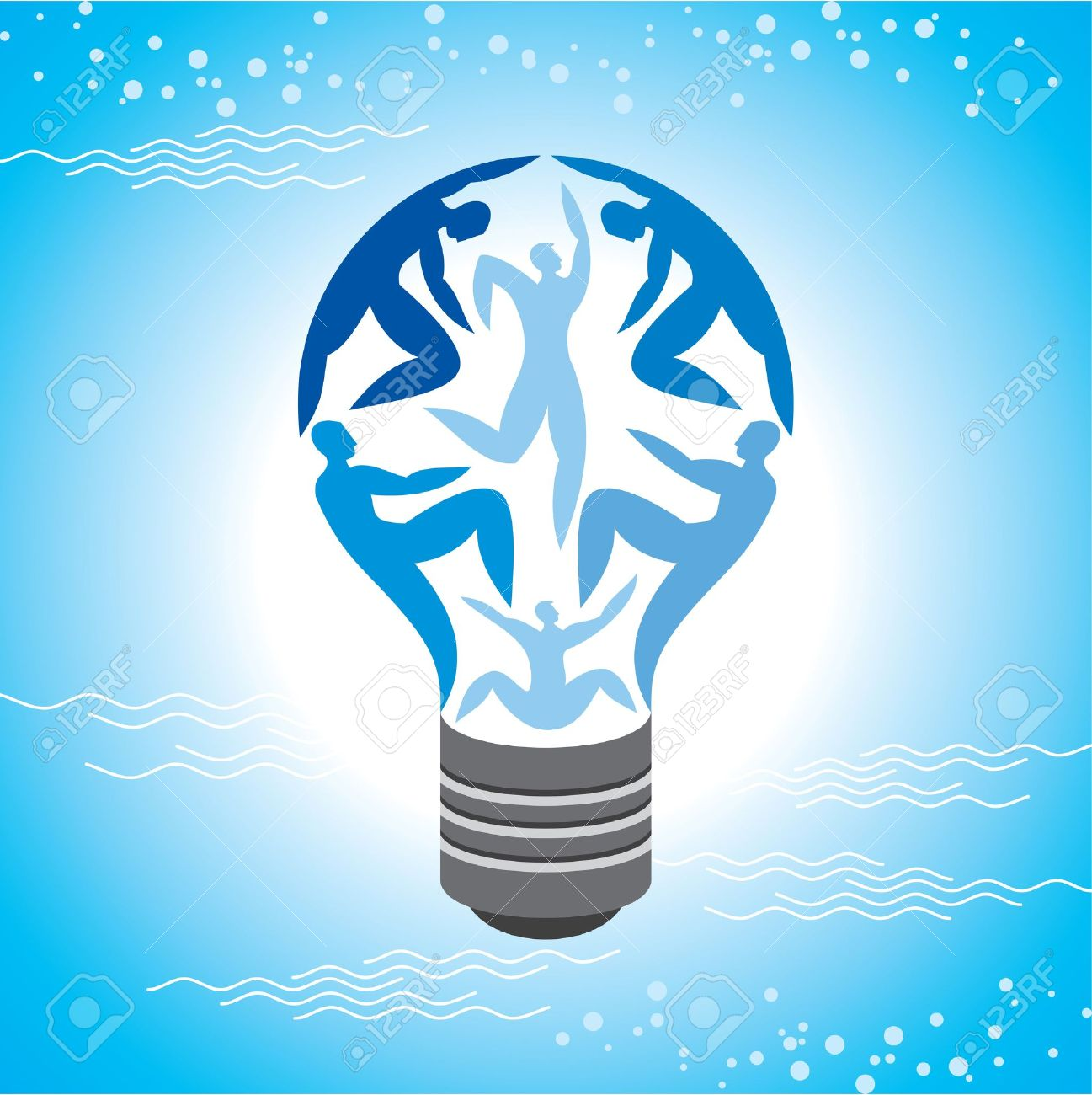 The Light Bulb For Job and Business Concept in Blue Sky Background Stock Vector - 17725526