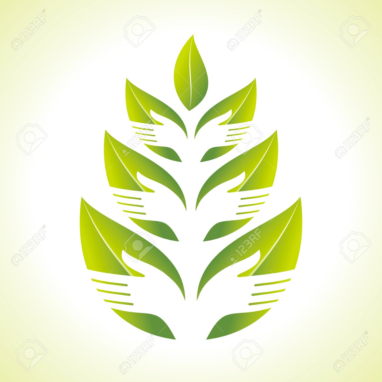 Hand and Leaf silhouette Stock Vector - 17724057