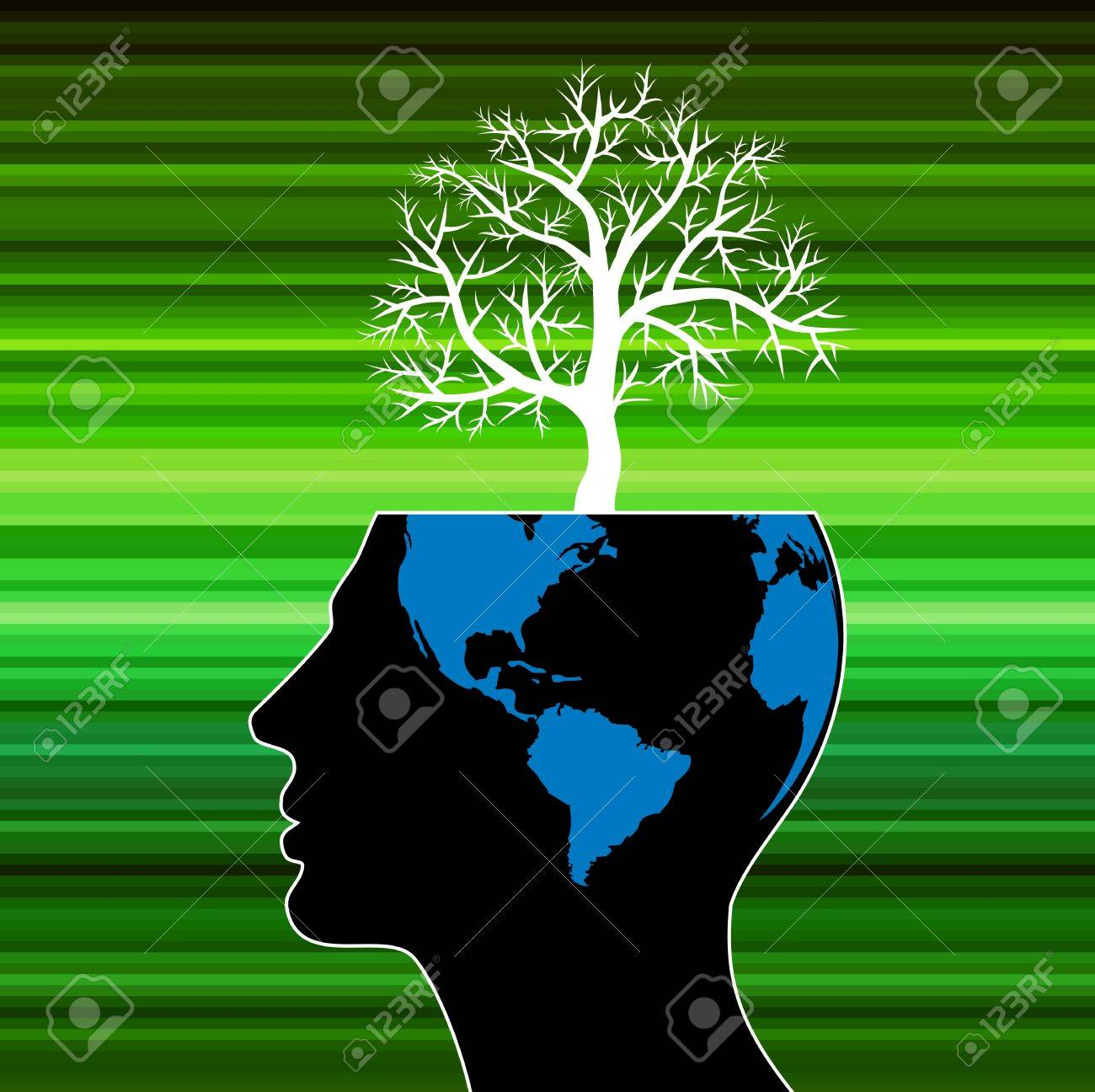 human head growing in the shape of tree Stock Photo - 17721905