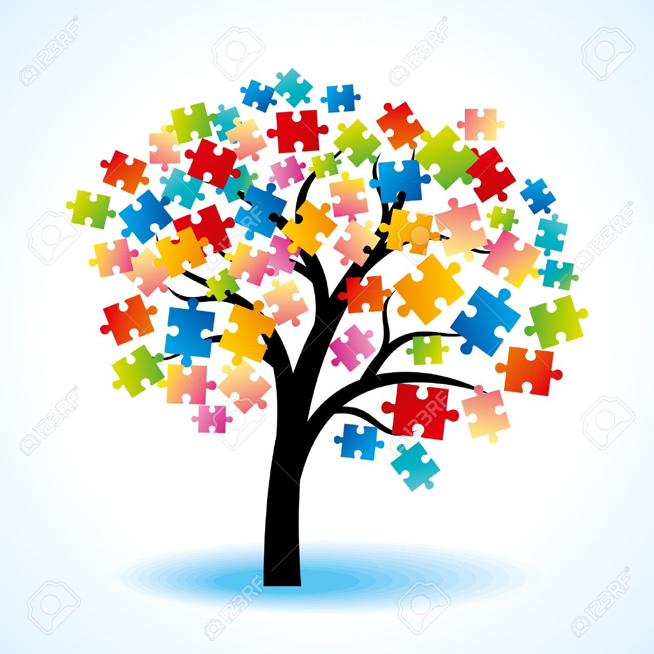 Abstract Tree Puzzle Colorful Background Stock Vector