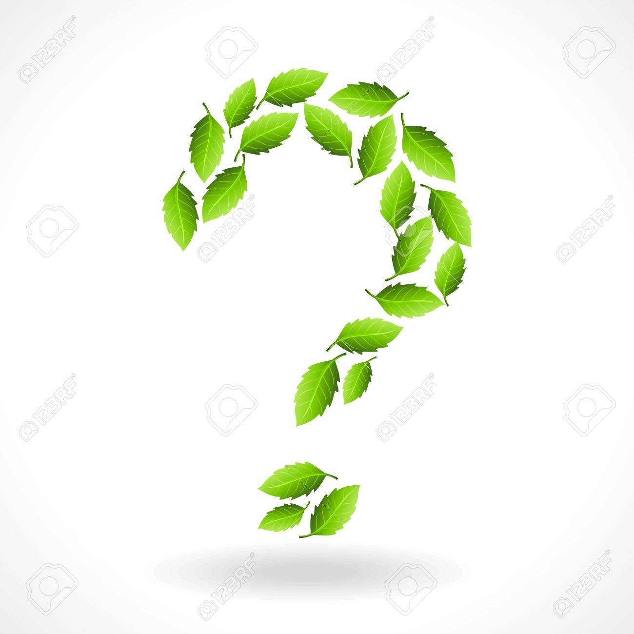 question mark making of green leaf Stock Vector - 17635238
