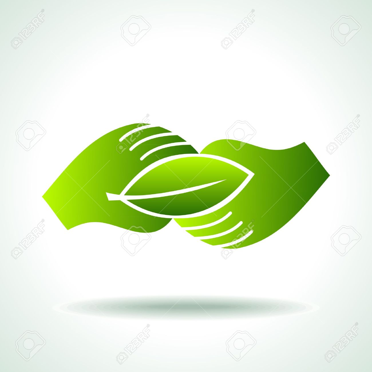 Green hand with green leaf over white background Stock Vector - 17636937