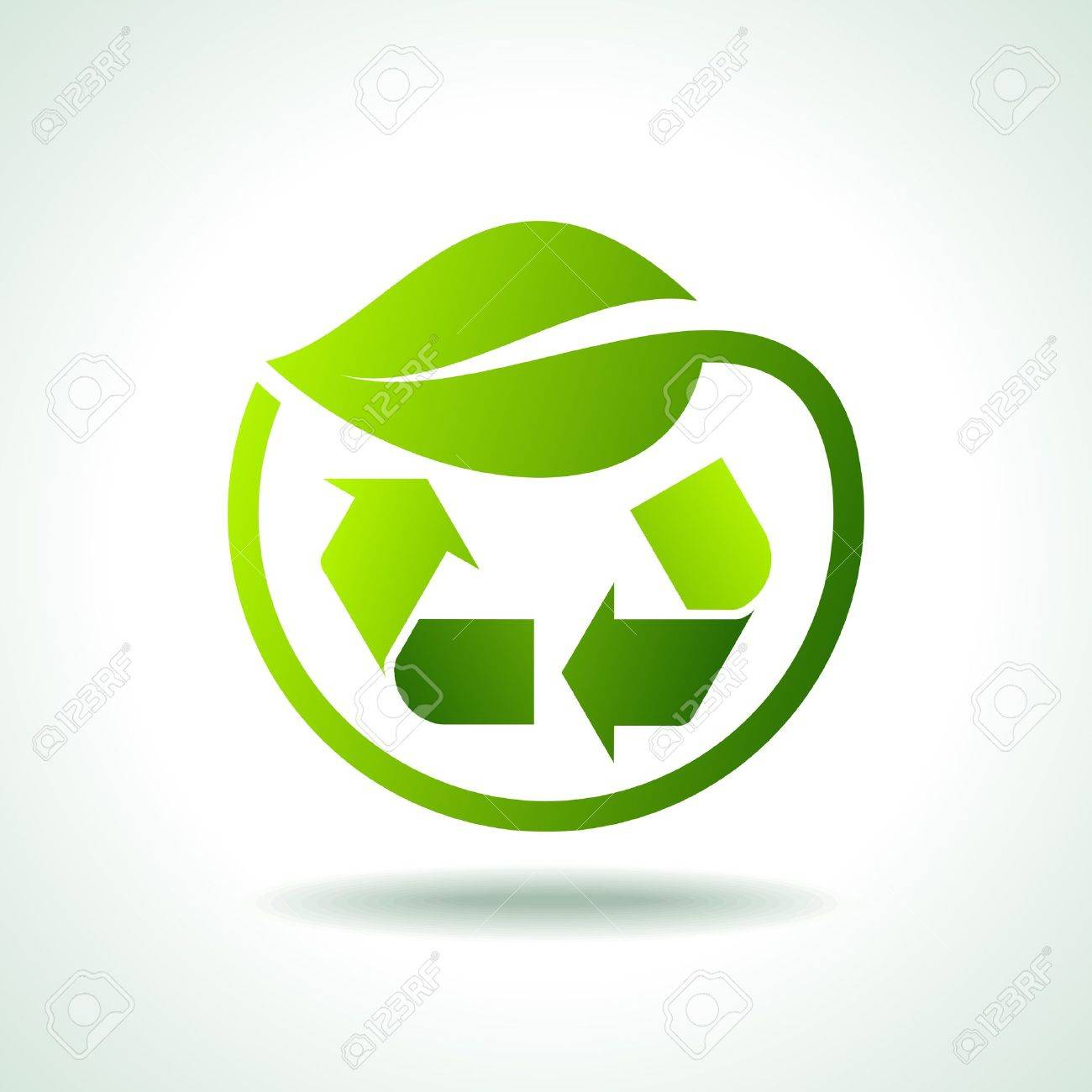 illustration of recycle symbol with leaf icon Stock Vector - 17636945