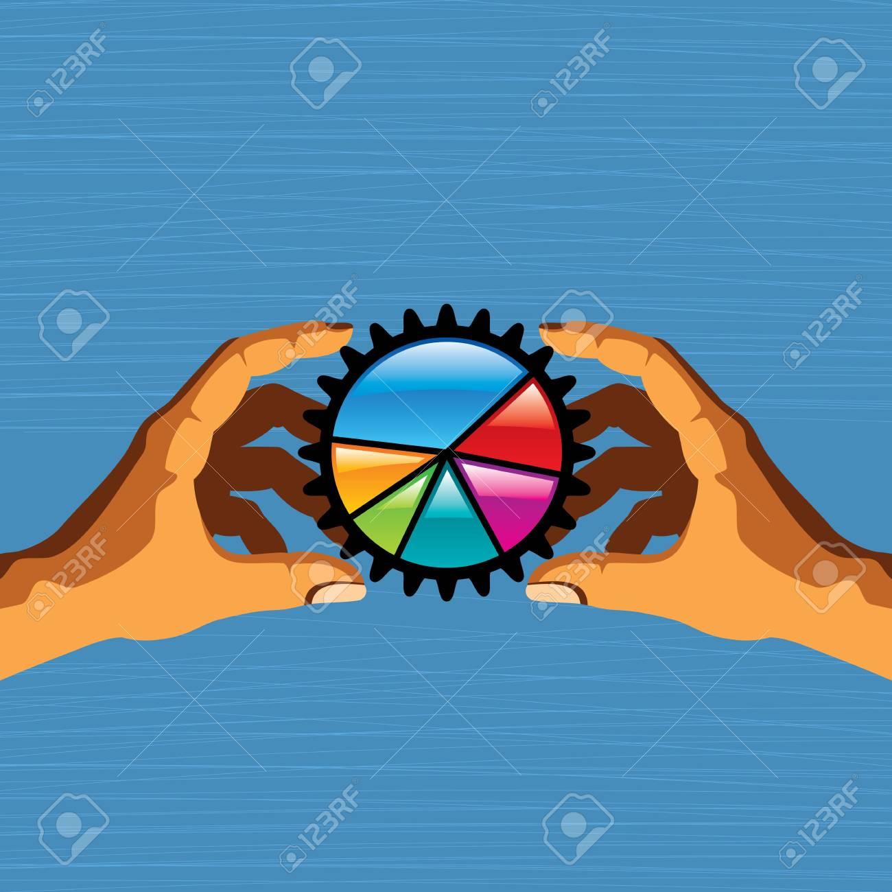 pie chart holding hands, successful teamwork concept Stock Vector - 17084643