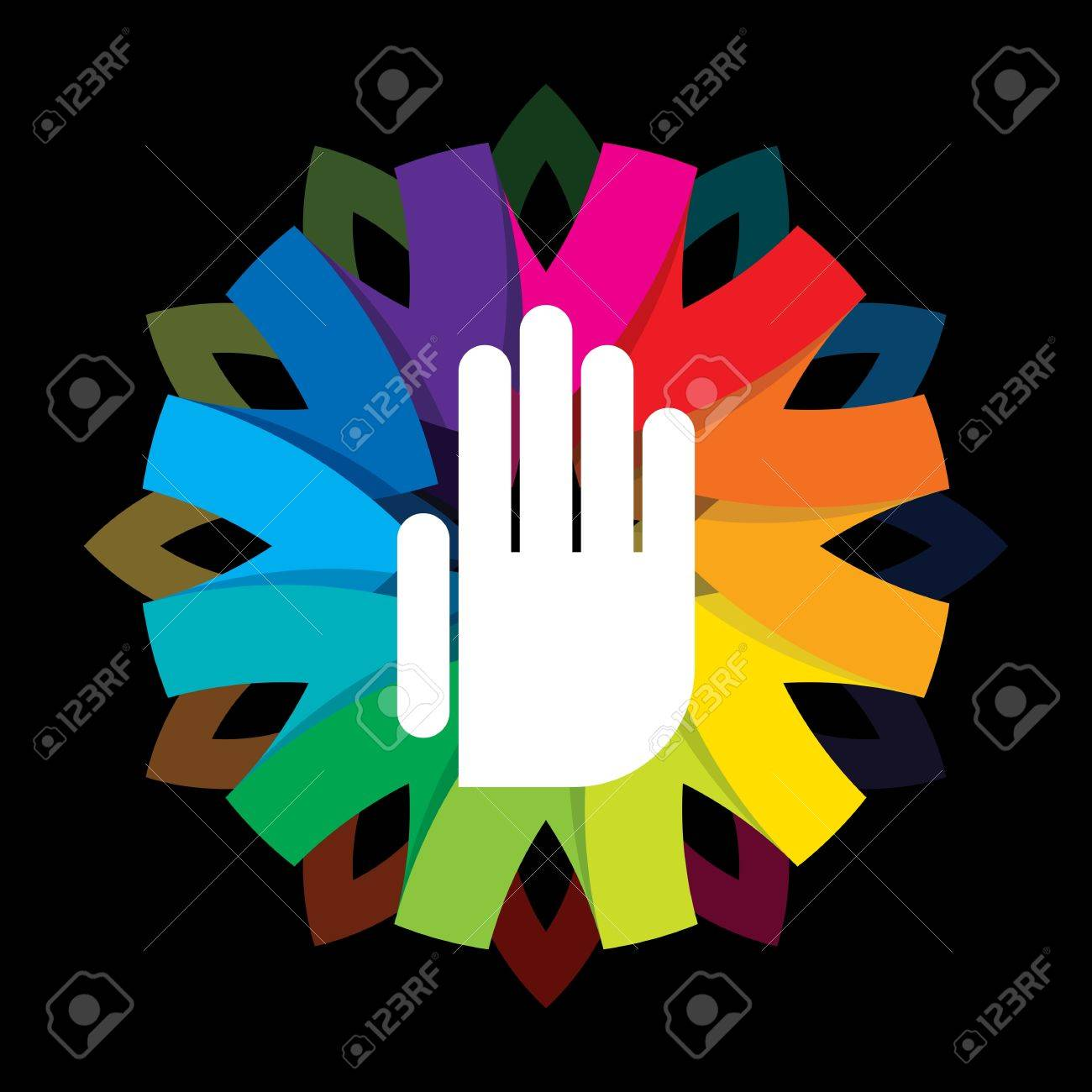 spiritual hand on colorful background Stock Vector - 18157786