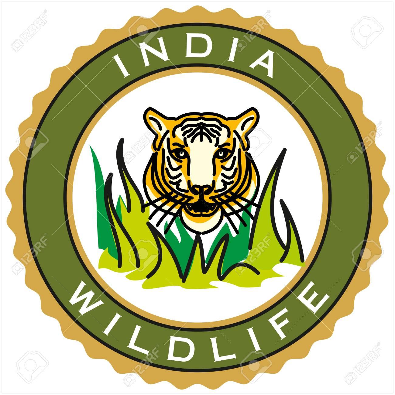 label of India wildlife Stock Vector - 18178407