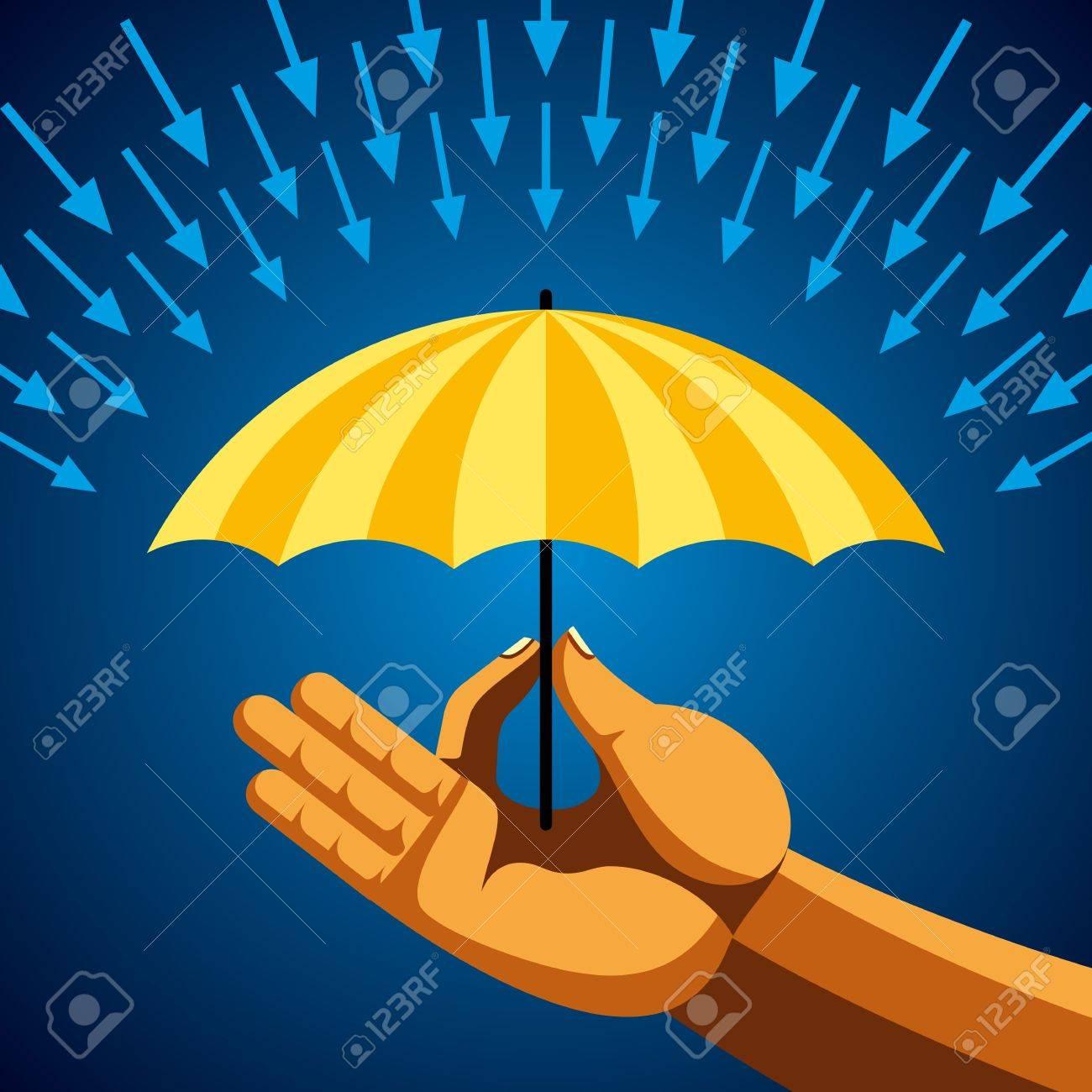 Hand with yellow umbrella Stock Vector - 18181441