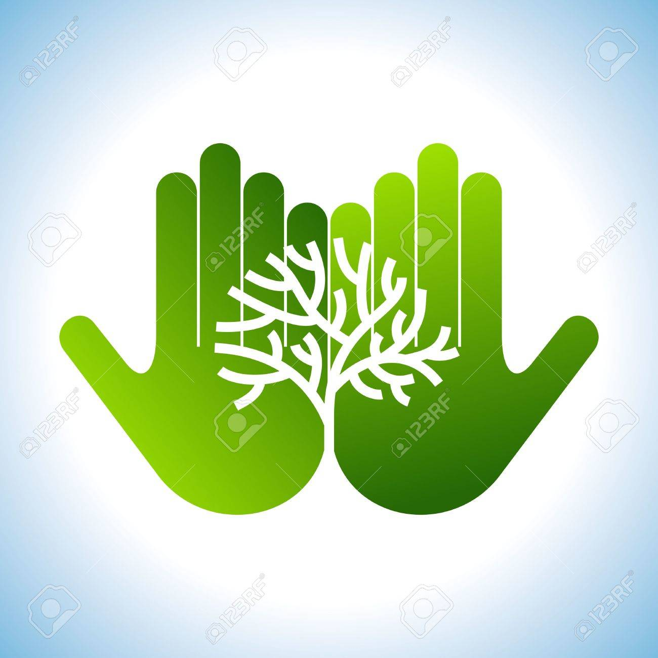 Eco friendly tree in hands illustration Stock Vector - 18210582