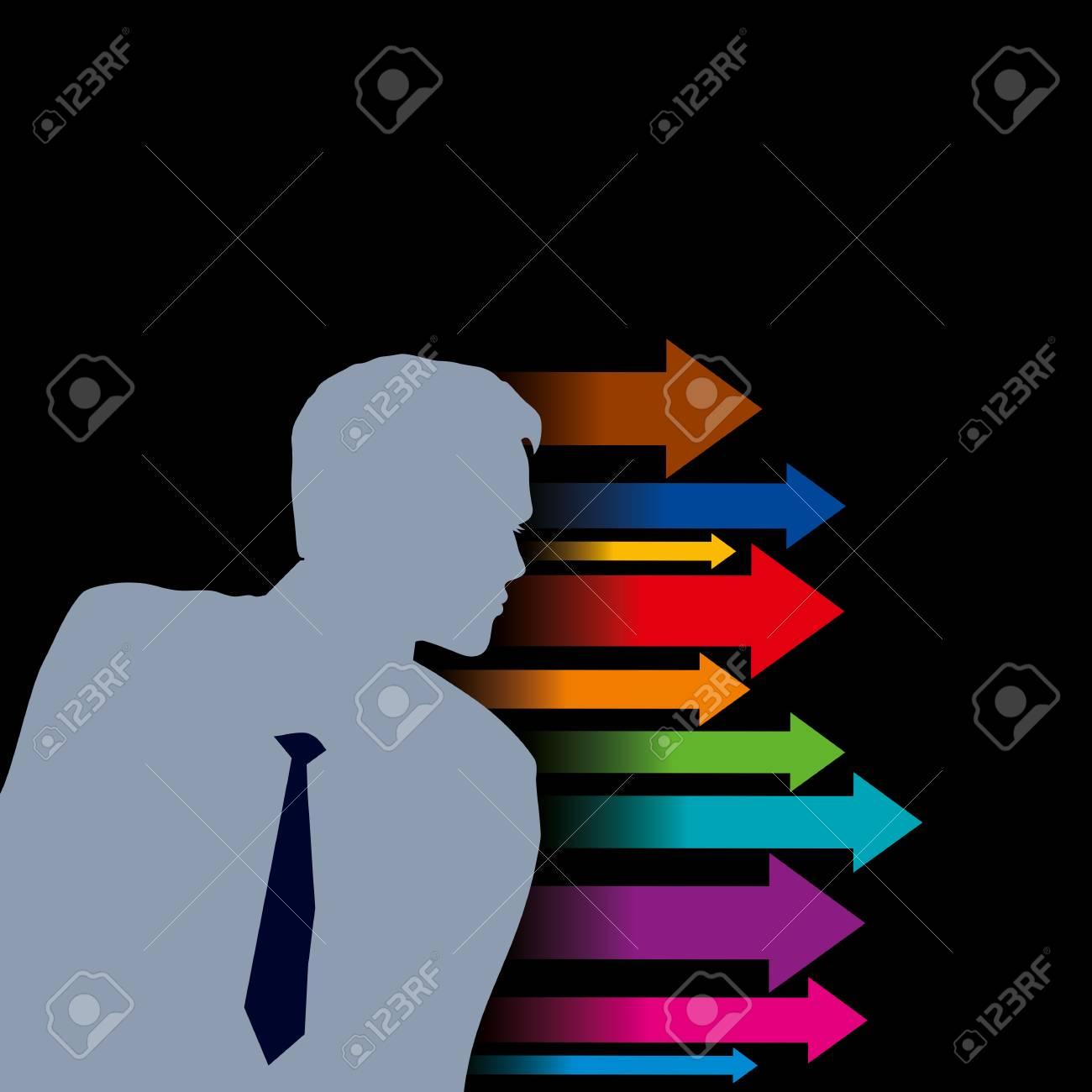 Global business arrow with businessman Stock Vector - 18210594