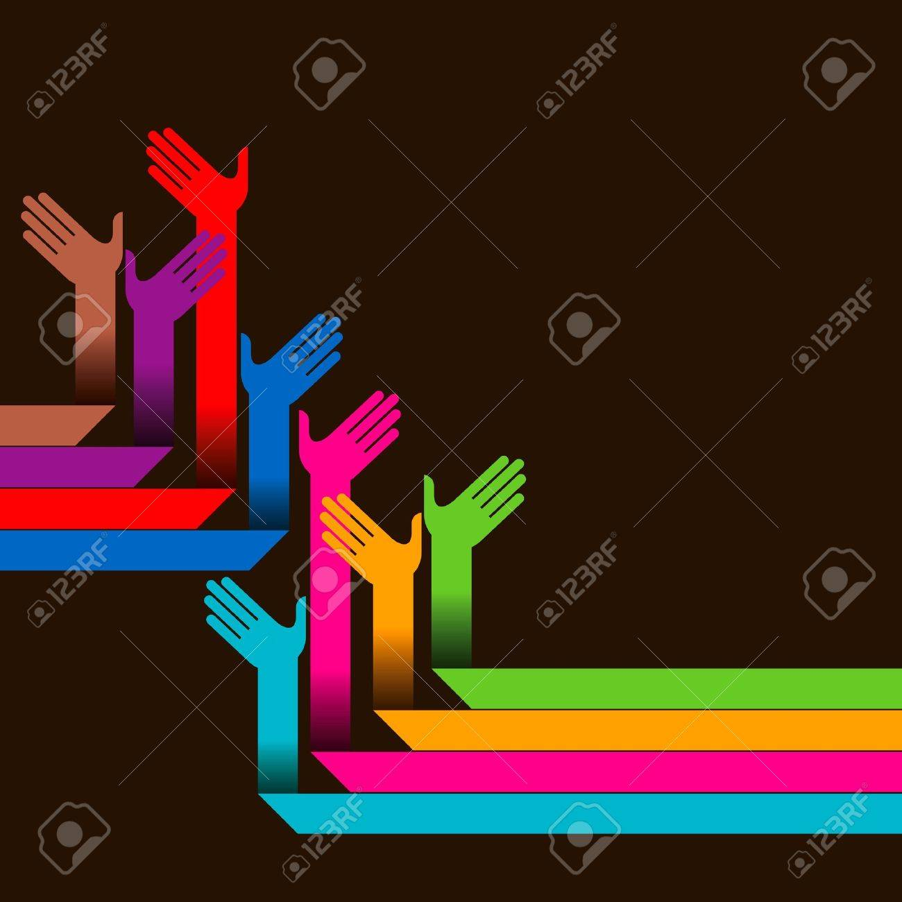 hands of different colors Stock Vector - 18210629